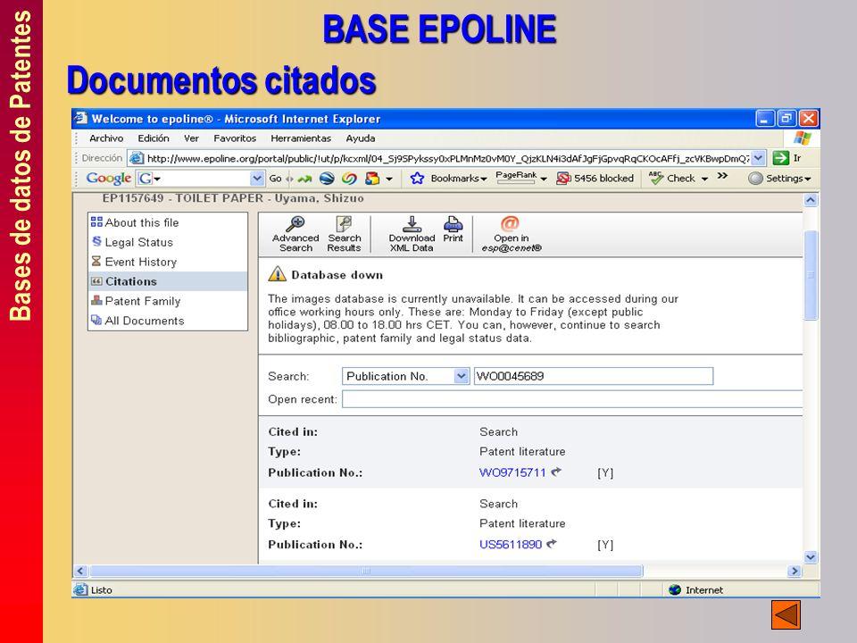Bases de datos de Patentes BASE EPOLINE Documentos citados