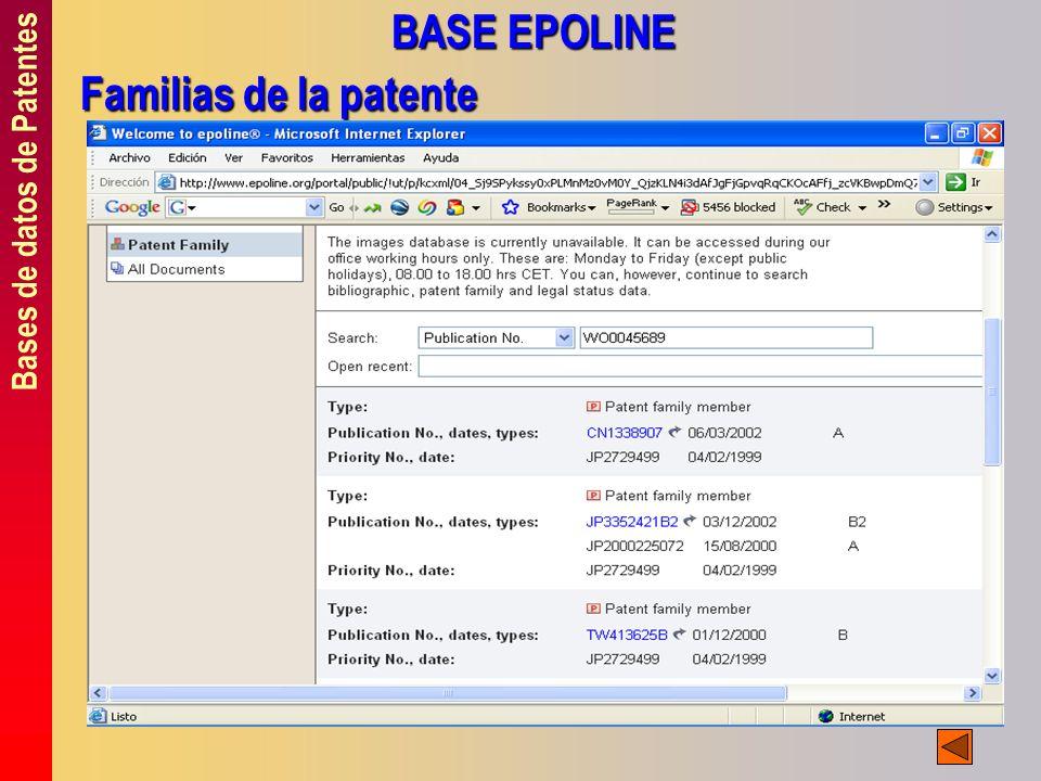 Bases de datos de Patentes BASE EPOLINE Familias de la patente