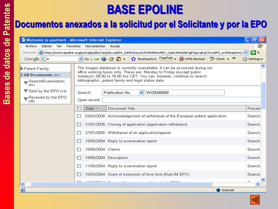 Bases de datos de Patentes BASE EPOLINE Documentos anexados a la solicitud por el Solicitante y por la EPO