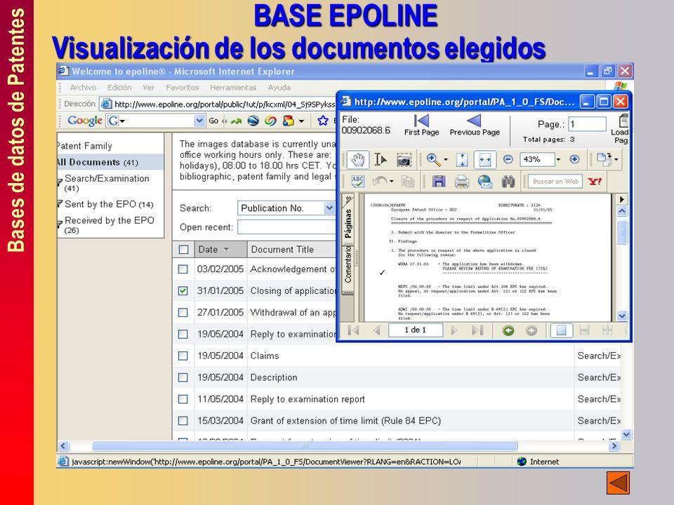 Bases de datos de Patentes BASE EPOLINE Visualización de los documentos elegidos