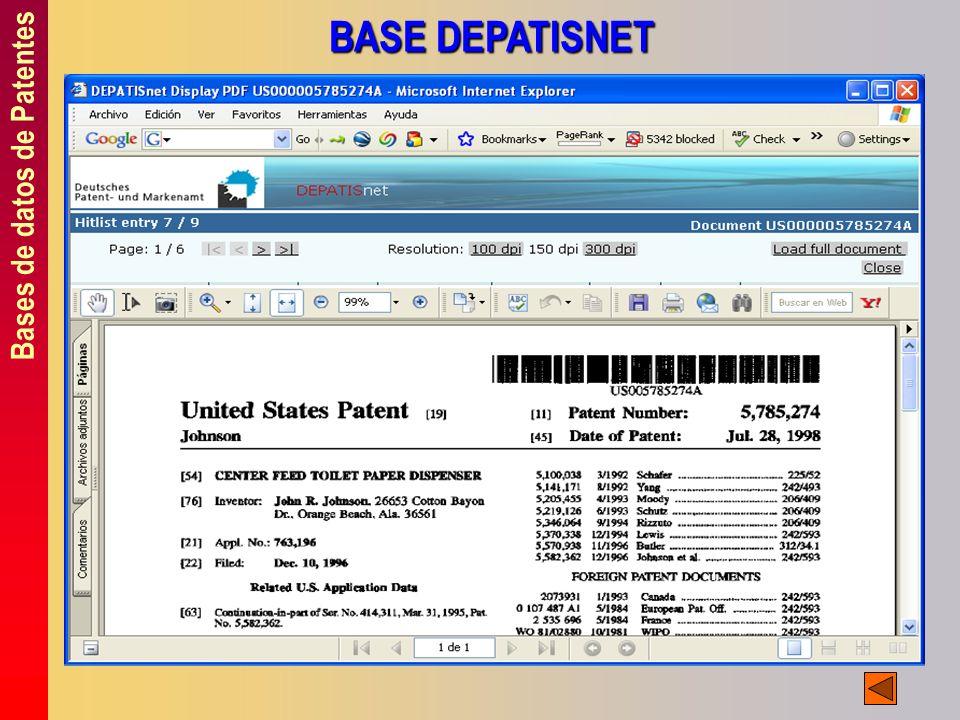 Bases de datos de Patentes BASE DEPATISNET