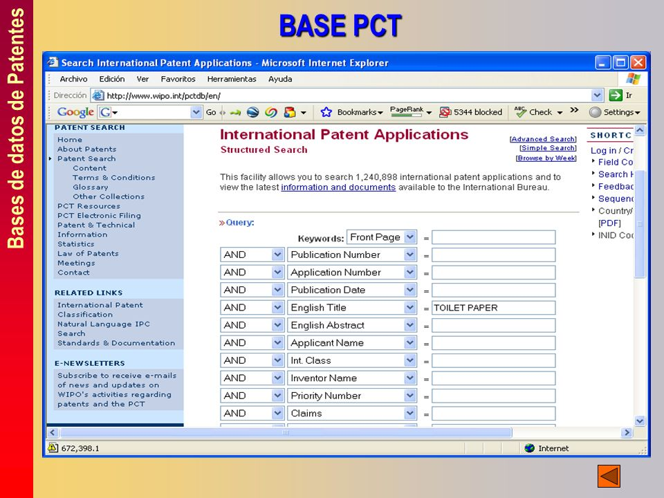 Bases de datos de Patentes BASE PCT
