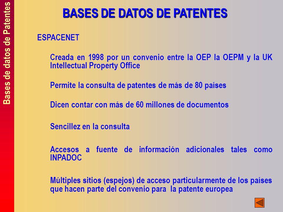 Bases de datos de Patentes BASES DE DATOS DE PATENTES ESPACENET Creada en 1998 por un convenio entre la OEP la OEPM y la UK Intellectual Property Offi