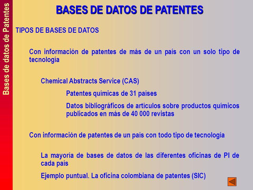 Bases de datos de Patentes BASES DE DATOS DE PATENTES TIPOS DE BASES DE DATOS Con información de patentes de más de un país con un solo tipo de tecnol