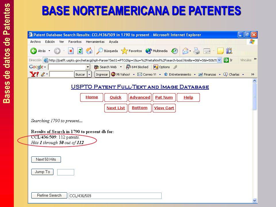 Bases de datos de Patentes BASE NORTEAMERICANA DE PATENTES