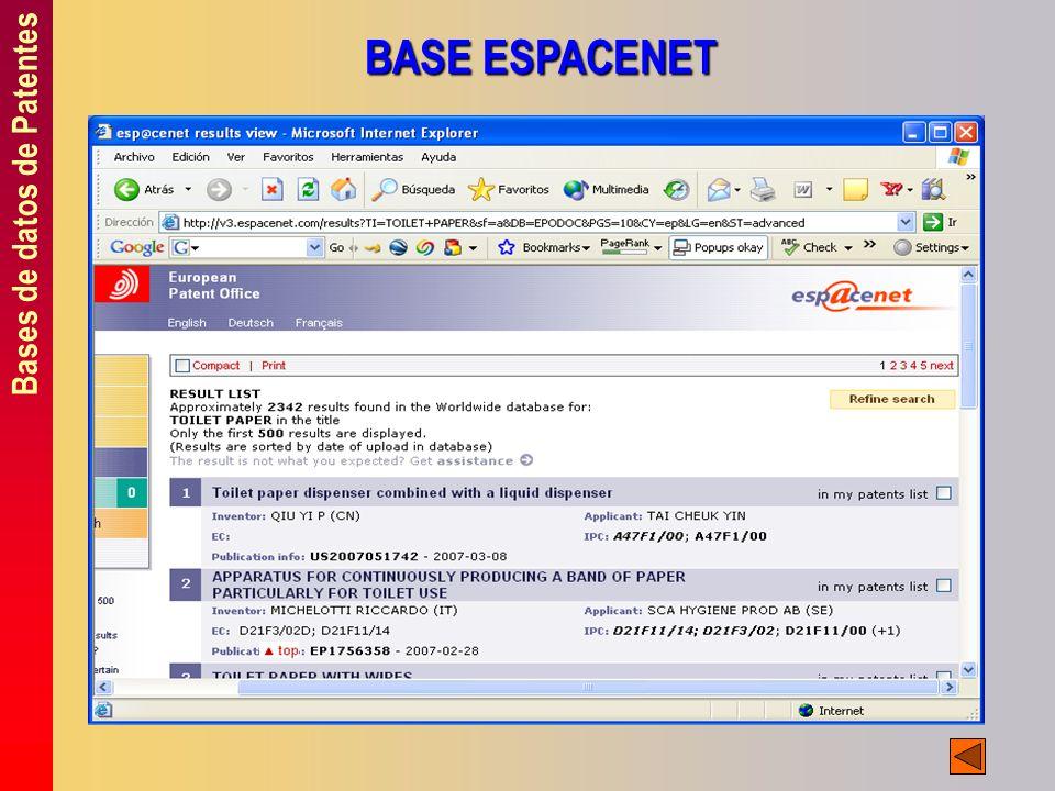 Bases de datos de Patentes BASE ESPACENET