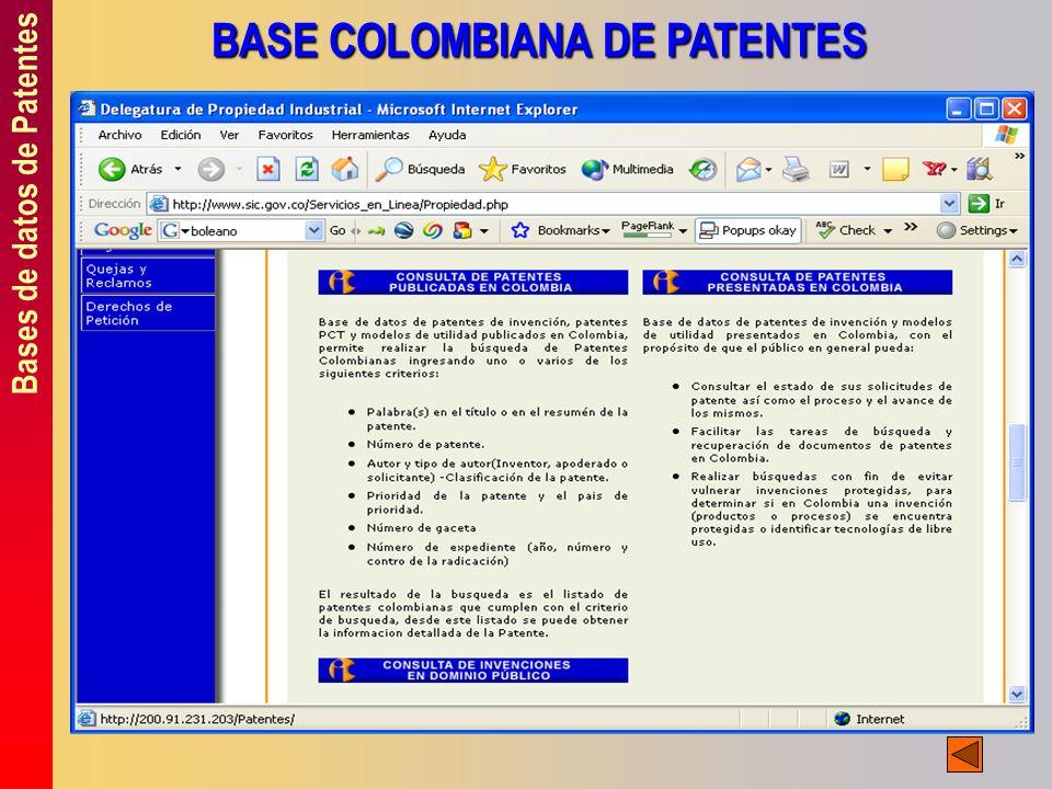 Bases de datos de Patentes BASE COLOMBIANA DE PATENTES