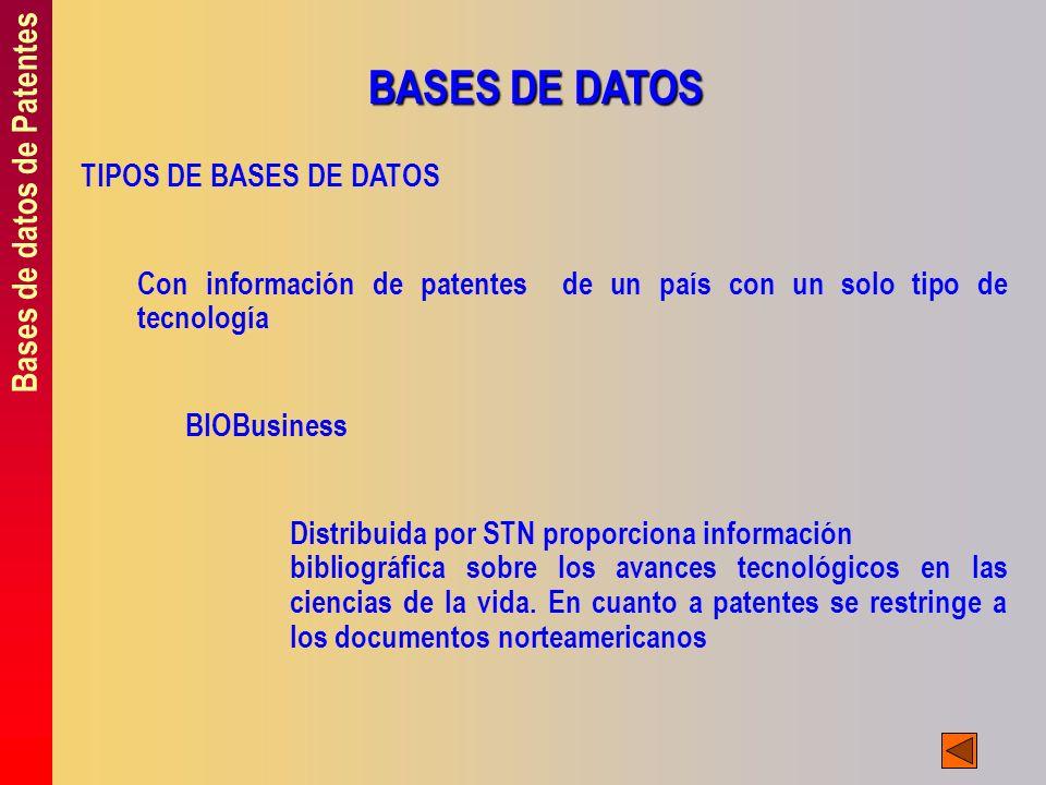 Bases de datos de Patentes BASES DE DATOS TIPOS DE BASES DE DATOS Con información de patentes de un país con un solo tipo de tecnología BIOBusiness Di