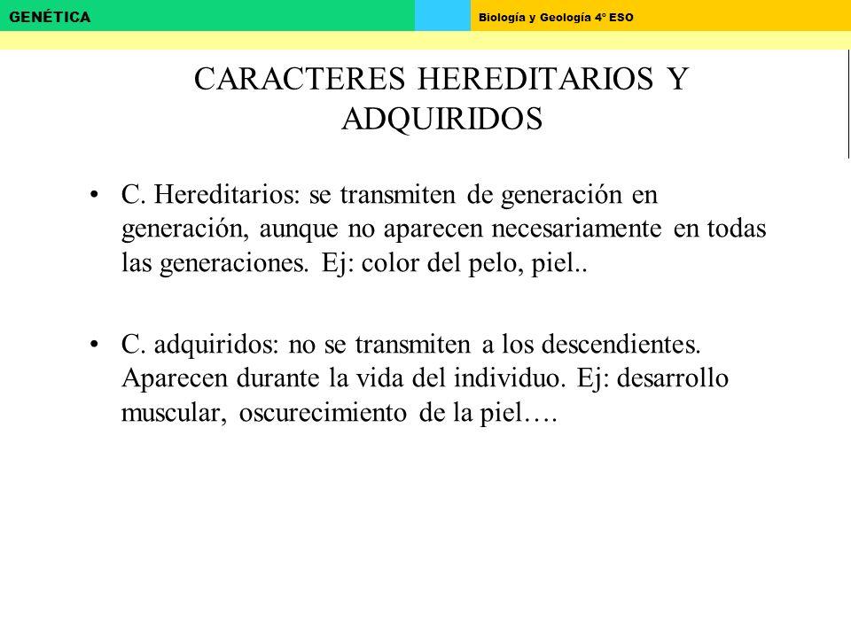 Biología y Geología 4º ESO GENÉTICA CARACTERES HEREDITARIOS Y ADQUIRIDOS C.