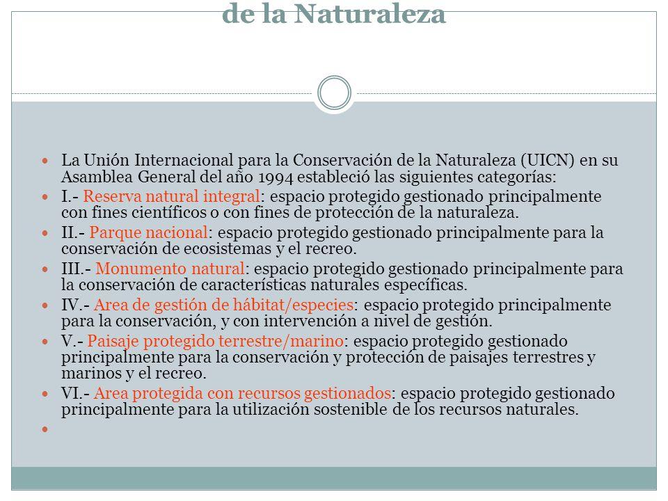 Categorías Internacionales de Conservación de la Naturaleza La Unión Internacional para la Conservación de la Naturaleza (UICN) en su Asamblea General