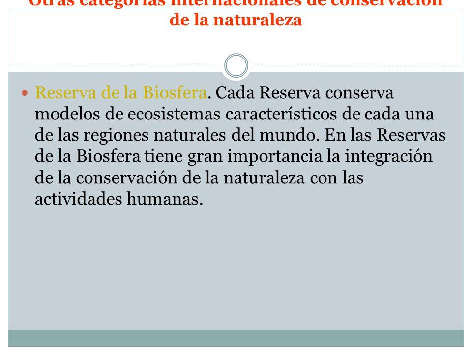 Otras categorías internacionales de conservación de la naturaleza Reserva de la Biosfera. Cada Reserva conserva modelos de ecosistemas característicos