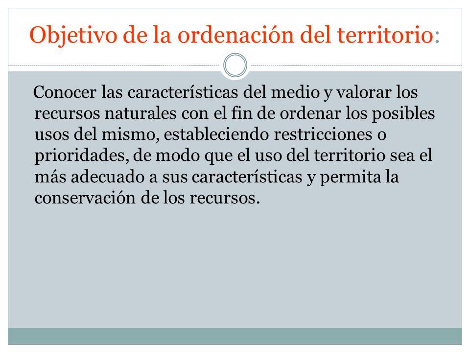 Objetivo de la ordenación del territorio: Conocer las características del medio y valorar los recursos naturales con el fin de ordenar los posibles us