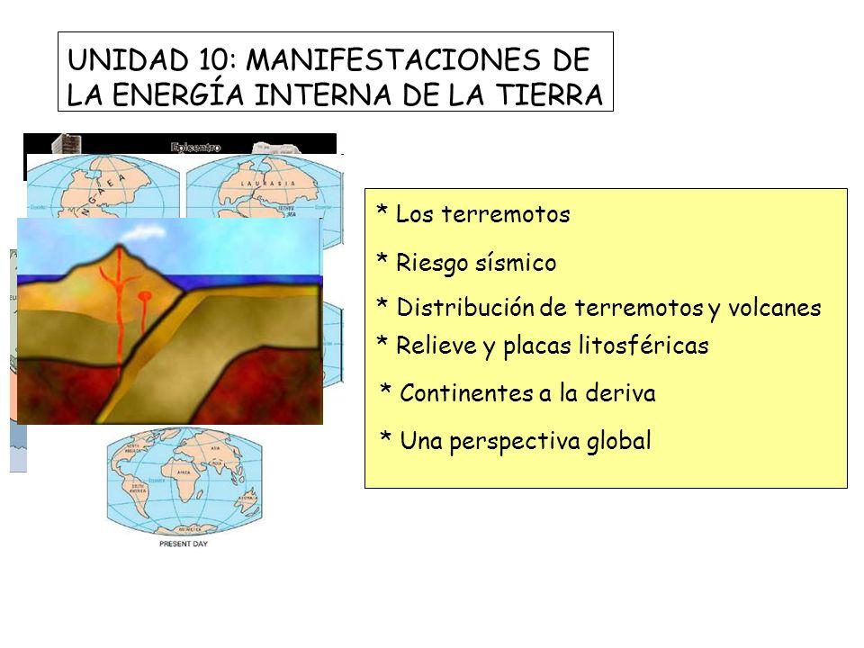 UNIDAD 10: MANIFESTACIONES DE LA ENERGÍA INTERNA DE LA TIERRA * Los terremotos * Riesgo sísmico * Distribución de terremotos y volcanes * Relieve y pl
