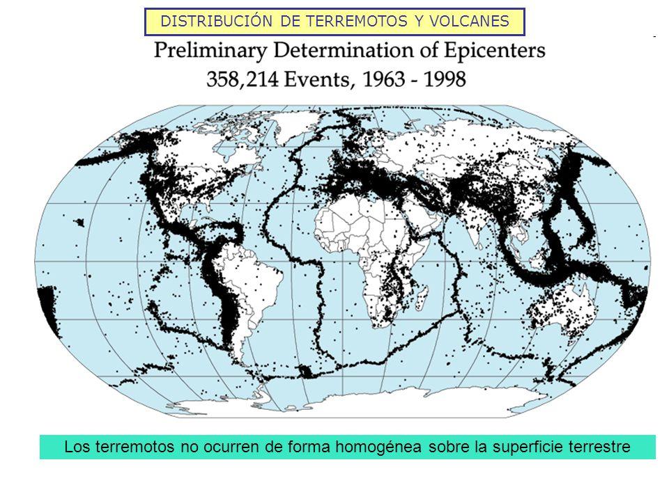 DISTRIBUCIÓN DE TERREMOTOS Y VOLCANES Los terremotos no ocurren de forma homogénea sobre la superficie terrestre