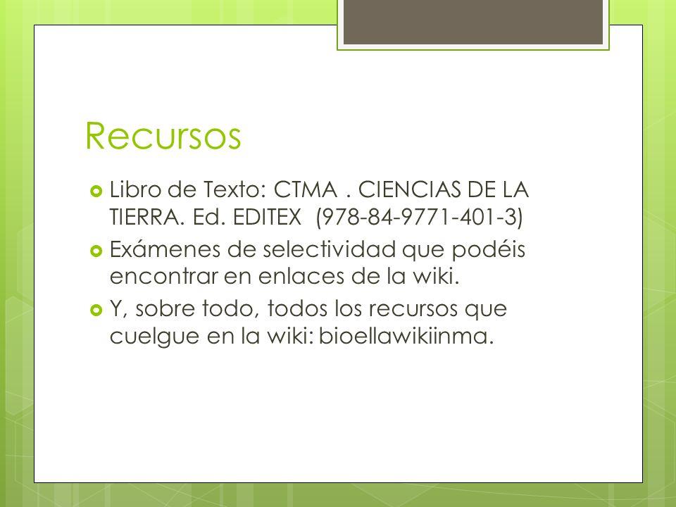 Recursos Libro de Texto: CTMA. CIENCIAS DE LA TIERRA. Ed. EDITEX (978-84-9771-401-3) Exámenes de selectividad que podéis encontrar en enlaces de la wi