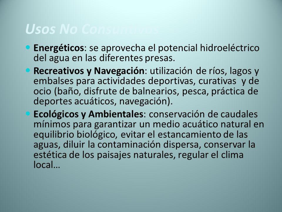 Usos No Consuntivos Energéticos: se aprovecha el potencial hidroeléctrico del agua en las diferentes presas. Recreativos y Navegación: utilización de