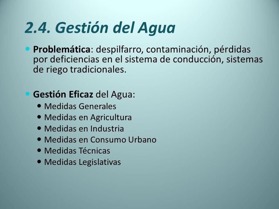 2.4. Gestión del Agua Problemática: despilfarro, contaminación, pérdidas por deficiencias en el sistema de conducción, sistemas de riego tradicionales