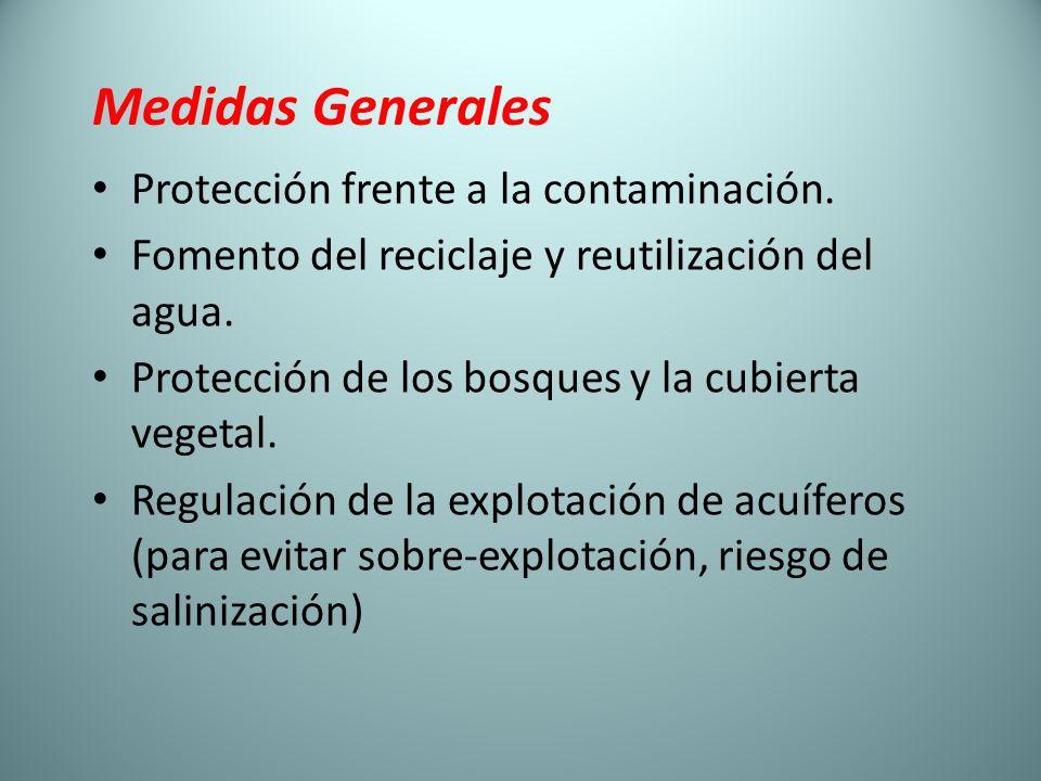 Medidas Generales Protección frente a la contaminación. Fomento del reciclaje y reutilización del agua. Protección de los bosques y la cubierta vegeta