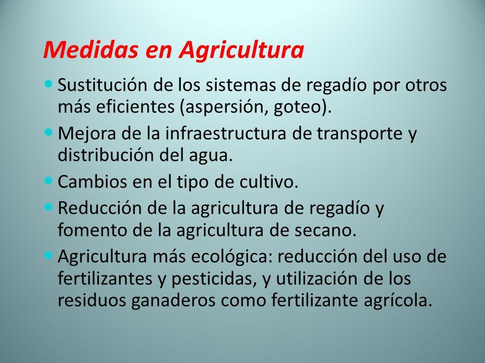 Medidas en Agricultura Sustitución de los sistemas de regadío por otros más eficientes (aspersión, goteo). Mejora de la infraestructura de transporte