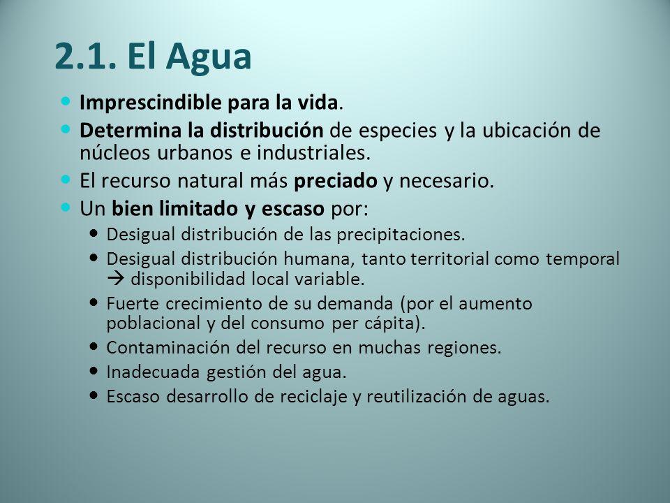 2.1. El Agua Imprescindible para la vida. Determina la distribución de especies y la ubicación de núcleos urbanos e industriales. El recurso natural m