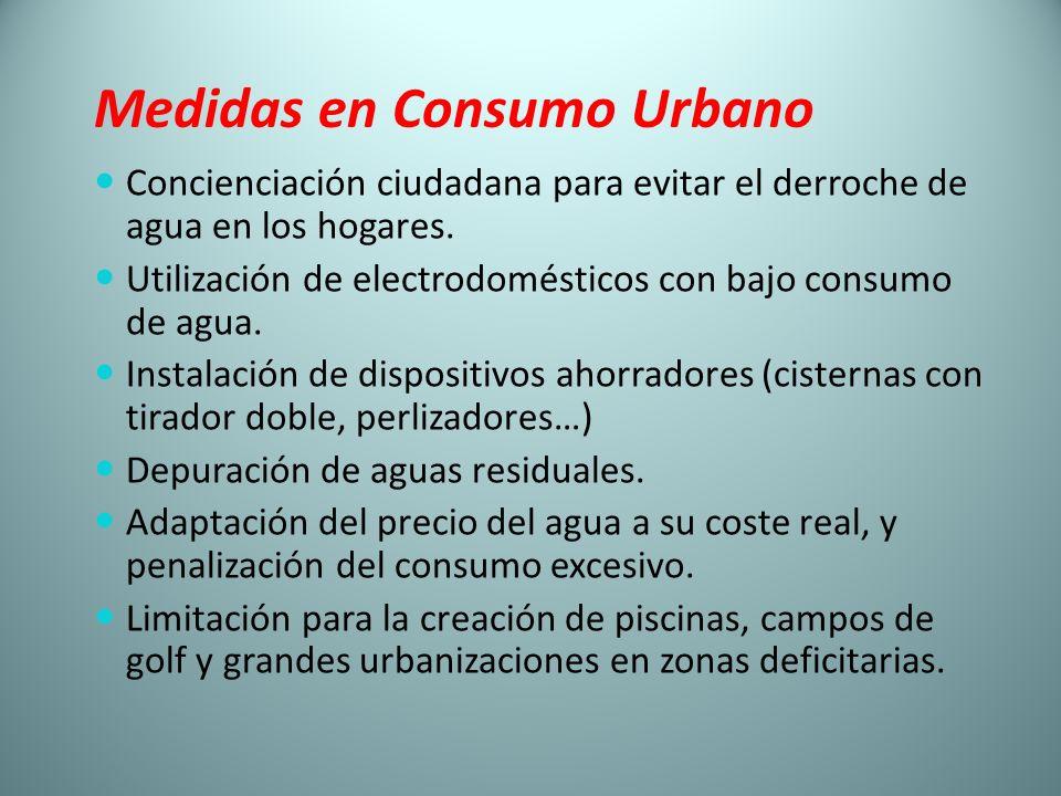 Medidas en Consumo Urbano Concienciación ciudadana para evitar el derroche de agua en los hogares. Utilización de electrodomésticos con bajo consumo d