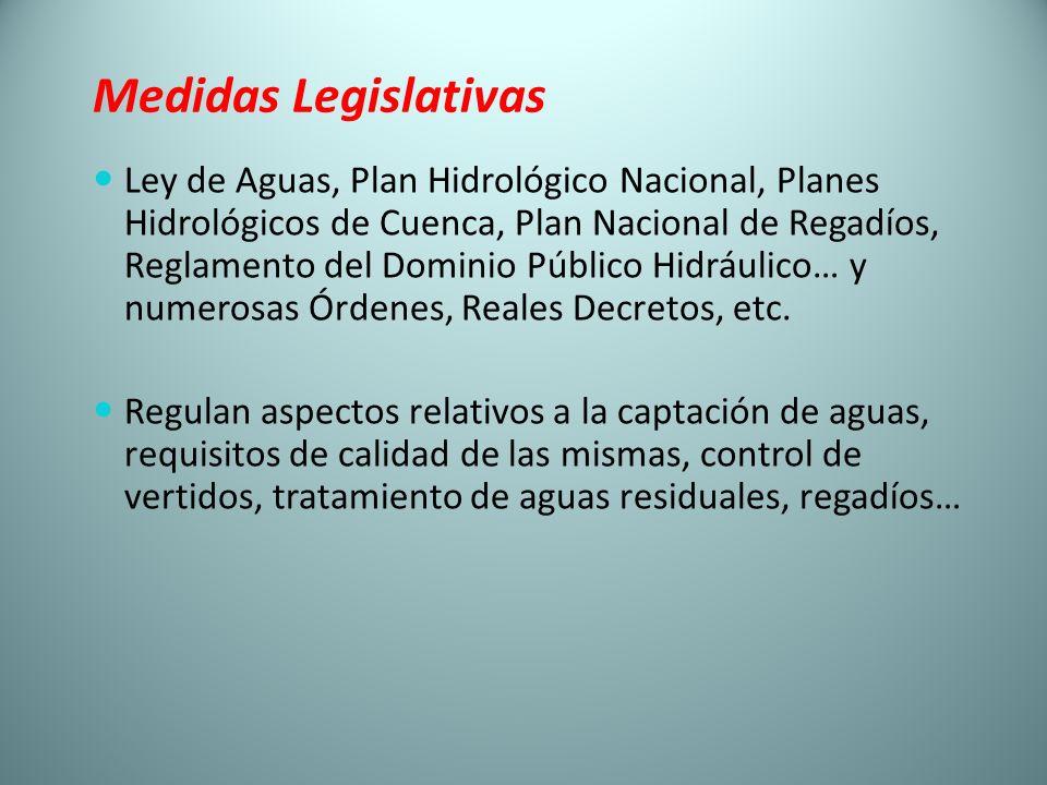 Medidas Legislativas Ley de Aguas, Plan Hidrológico Nacional, Planes Hidrológicos de Cuenca, Plan Nacional de Regadíos, Reglamento del Dominio Público