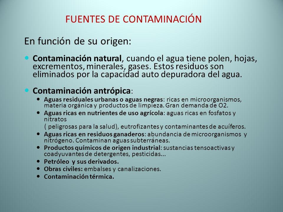 FUENTES DE CONTAMINACIÓN En función de su origen: Contaminación natural, cuando el agua tiene polen, hojas, excrementos, minerales, gases. Estos resid