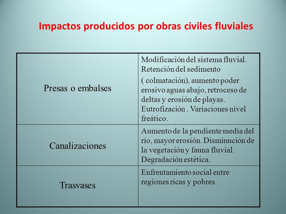 Impactos producidos por obras civiles fluviales Presas o embalses Modificación del sistema fluvial. Retención del sedimento ( colmatación), aumento po