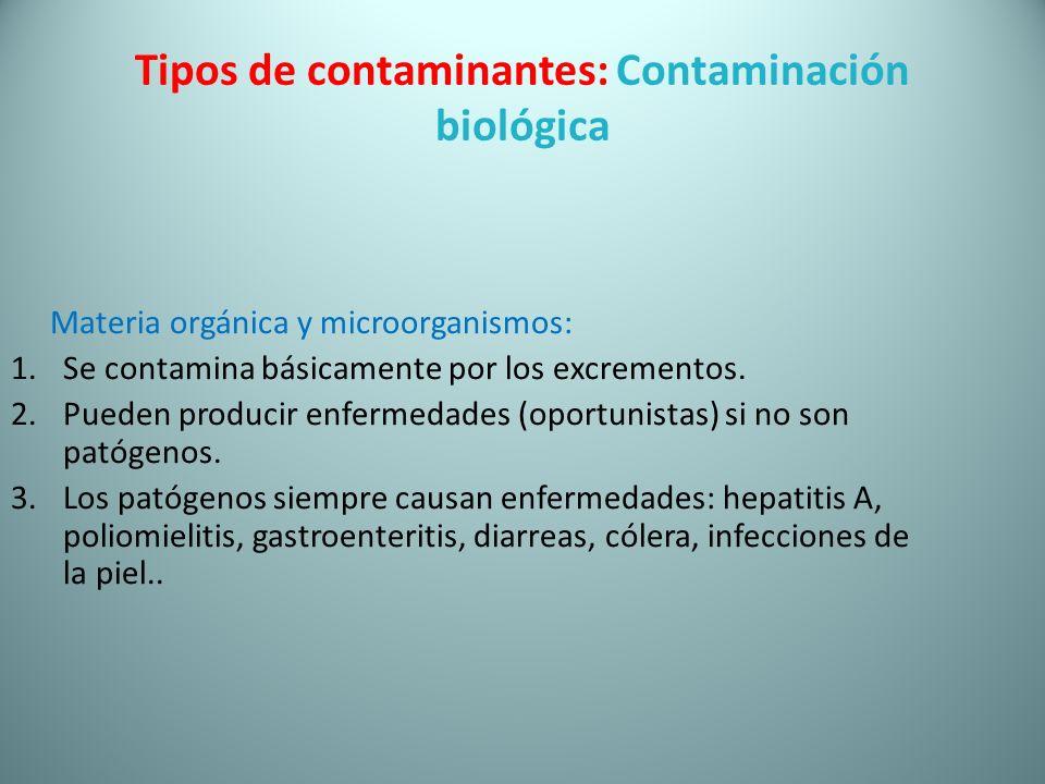 Tipos de contaminantes: Contaminación biológica Materia orgánica y microorganismos: 1.Se contamina básicamente por los excrementos. 2.Pueden producir
