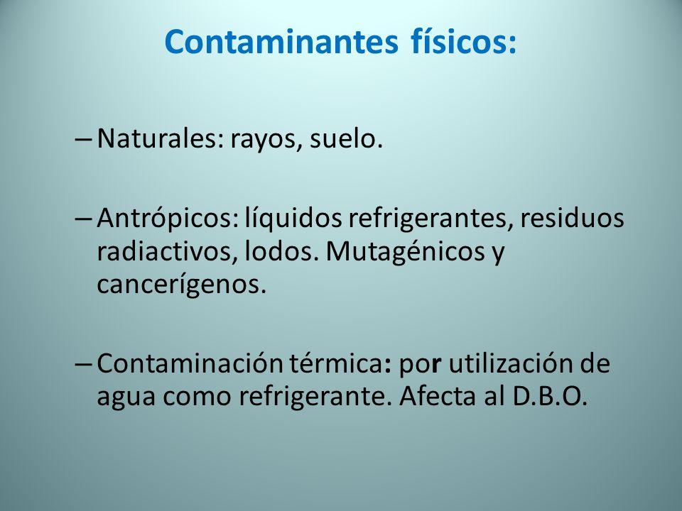 Contaminantes físicos: – Naturales: rayos, suelo. – Antrópicos: líquidos refrigerantes, residuos radiactivos, lodos. Mutagénicos y cancerígenos. – Con