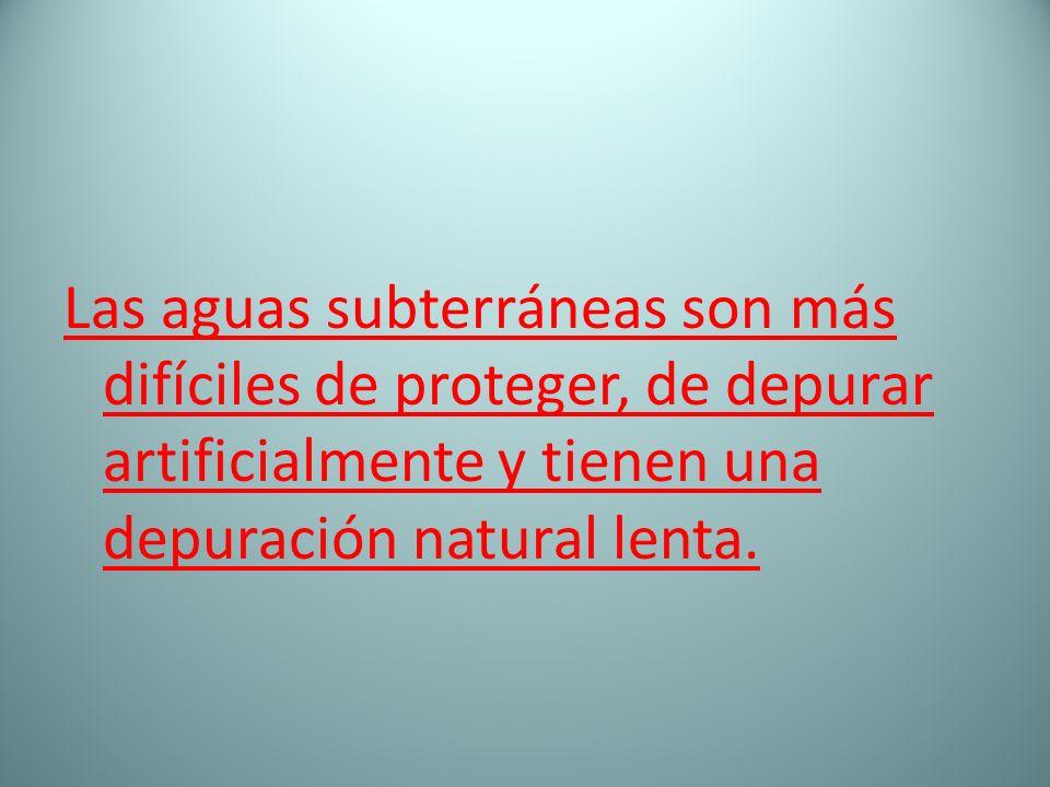Las aguas subterráneas son más difíciles de proteger, de depurar artificialmente y tienen una depuración natural lenta.