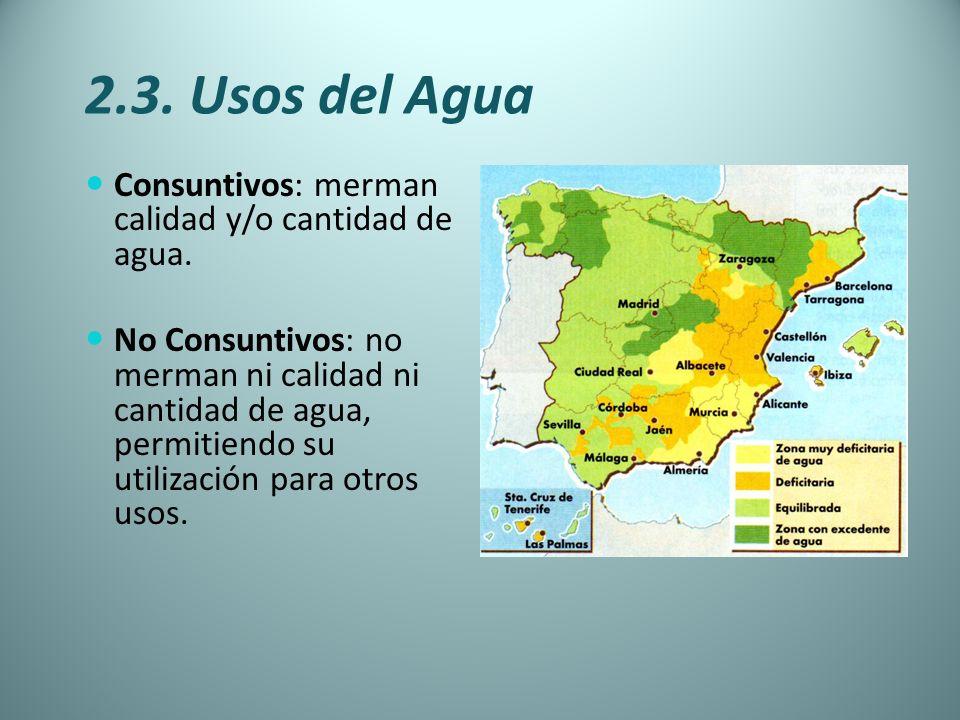 2.3. Usos del Agua Consuntivos: merman calidad y/o cantidad de agua. No Consuntivos: no merman ni calidad ni cantidad de agua, permitiendo su utilizac