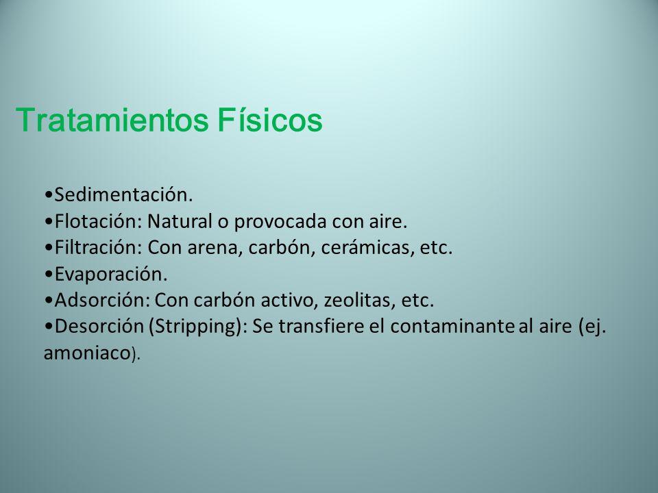 Tratamientos Físicos Sedimentación. Flotación: Natural o provocada con aire. Filtración: Con arena, carbón, cerámicas, etc. Evaporación. Adsorción: Co