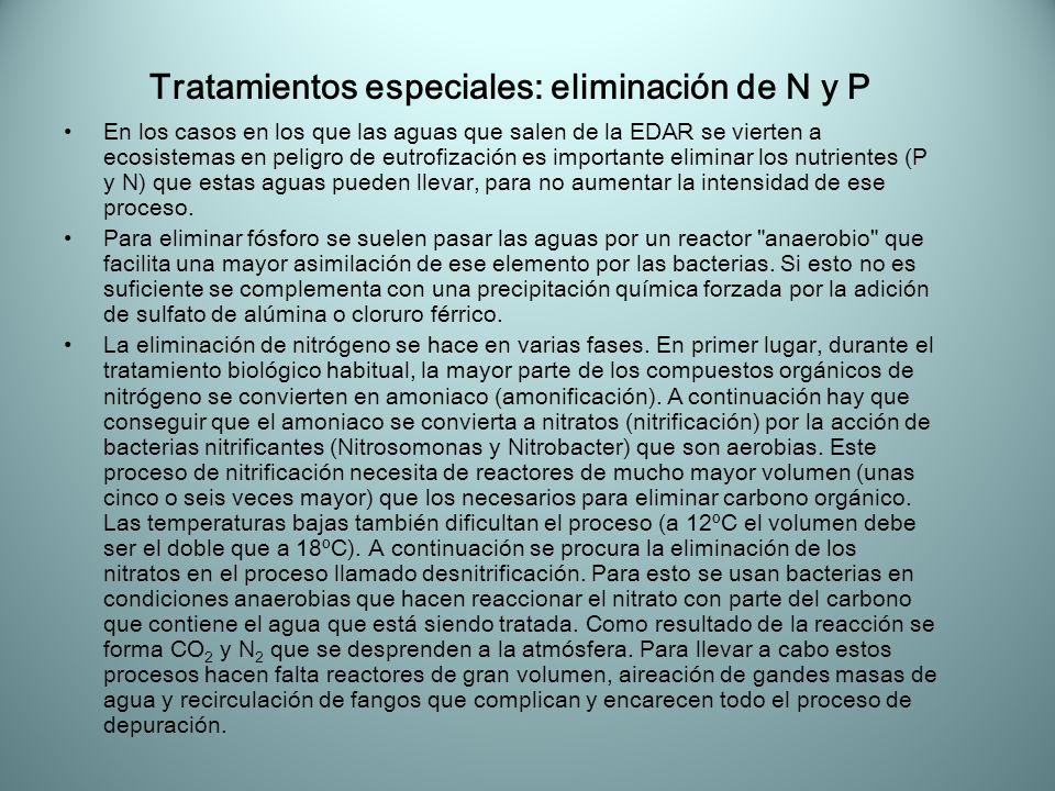 Tratamientos especiales: eliminación de N y P En los casos en los que las aguas que salen de la EDAR se vierten a ecosistemas en peligro de eutrofizac