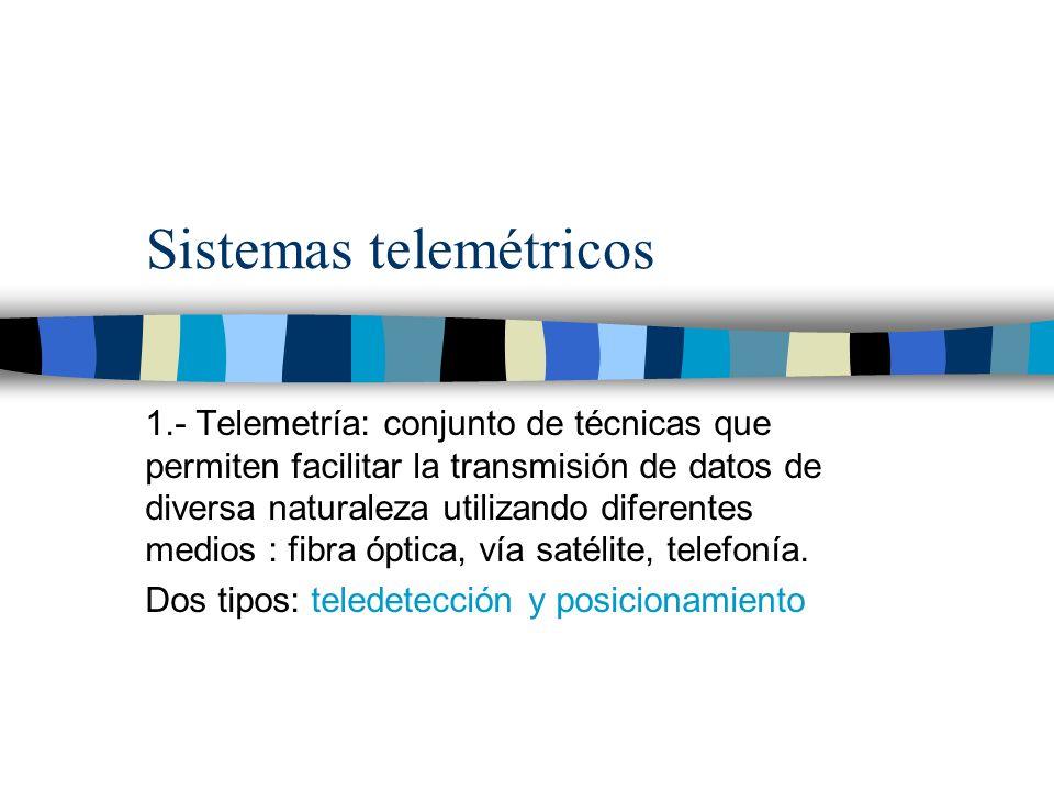 Sistemas telemétricos 1.- Telemetría: conjunto de técnicas que permiten facilitar la transmisión de datos de diversa naturaleza utilizando diferentes