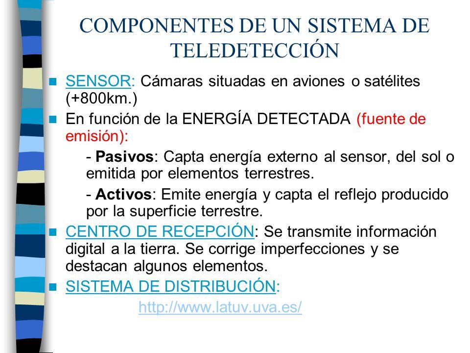 COMPONENTES DE UN SISTEMA DE TELEDETECCIÓN SENSOR: Cámaras situadas en aviones o satélites (+800km.) En función de la ENERGÍA DETECTADA (fuente de emi