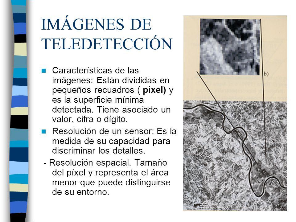 IMÁGENES DE TELEDETECCIÓN Características de las imágenes: Están divididas en pequeños recuadros ( pixel) y es la superficie mínima detectada. Tiene a