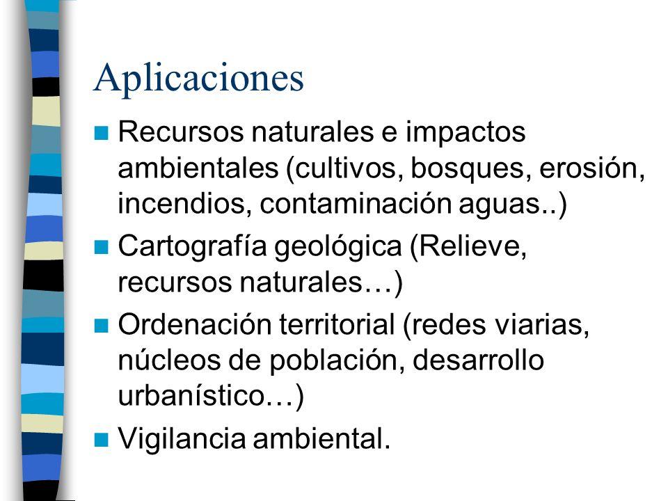 Aplicaciones Recursos naturales e impactos ambientales (cultivos, bosques, erosión, incendios, contaminación aguas..) Cartografía geológica (Relieve,