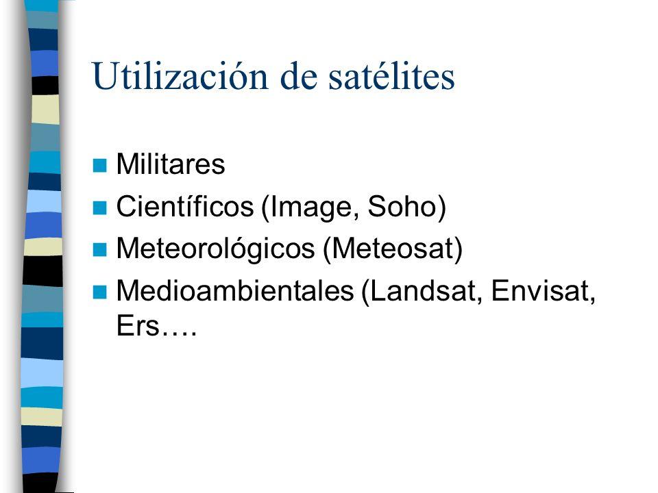 Utilización de satélites Militares Científicos (Image, Soho) Meteorológicos (Meteosat) Medioambientales (Landsat, Envisat, Ers….