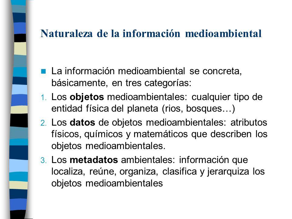 Naturaleza de la información medioambiental La información medioambiental se concreta, básicamente, en tres categorías: 1. Los objetos medioambientale