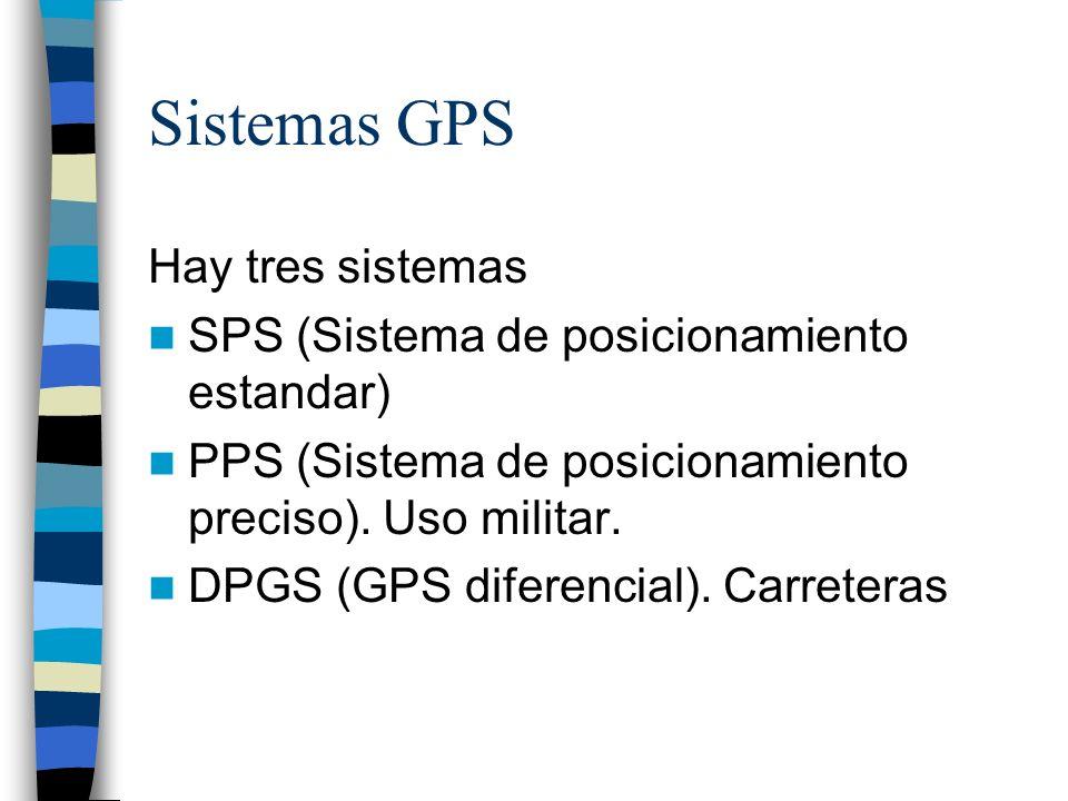 Sistemas GPS Hay tres sistemas SPS (Sistema de posicionamiento estandar) PPS (Sistema de posicionamiento preciso). Uso militar. DPGS (GPS diferencial)