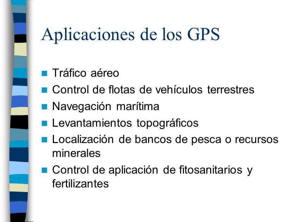 Aplicaciones de los GPS Tráfico aéreo Control de flotas de vehículos terrestres Navegación marítima Levantamientos topográficos Localización de bancos