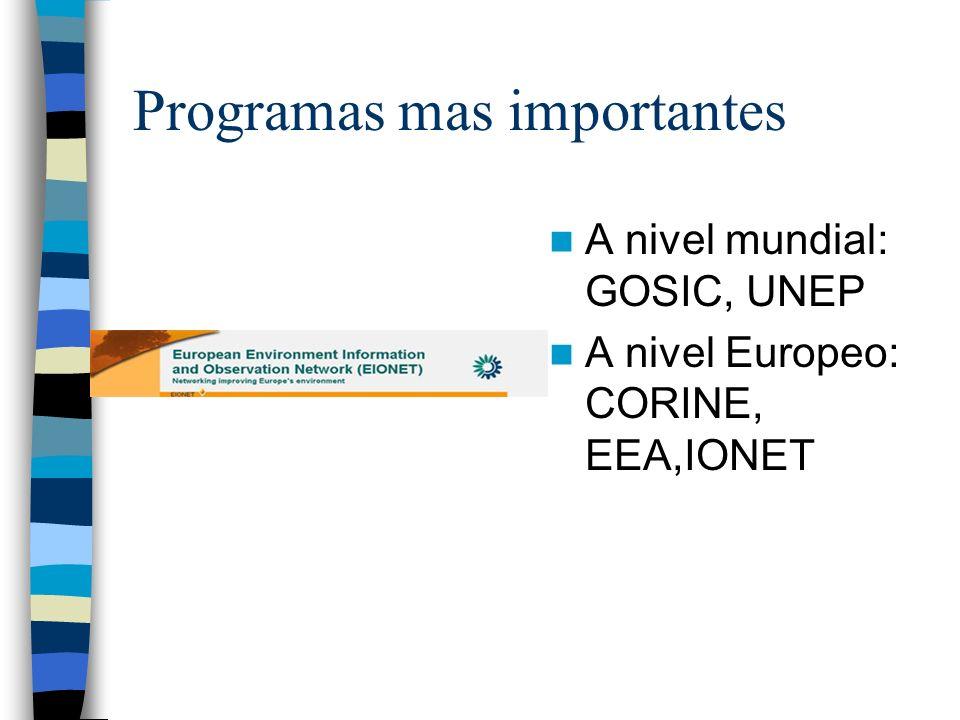 Programas mas importantes A nivel mundial: GOSIC, UNEP A nivel Europeo: CORINE, EEA,IONET