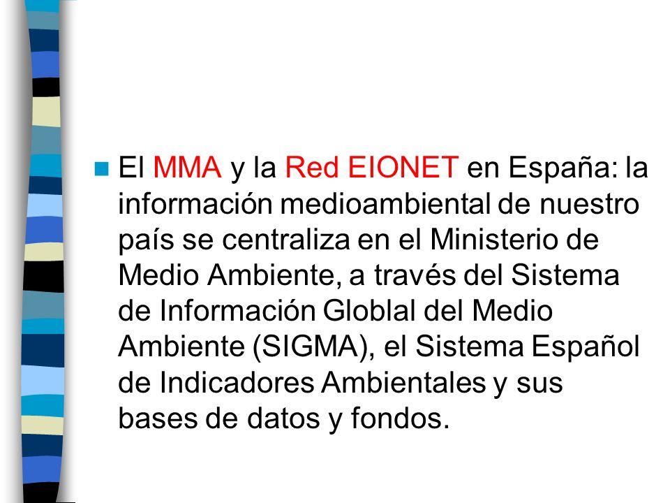 El MMA y la Red EIONET en España: la información medioambiental de nuestro país se centraliza en el Ministerio de Medio Ambiente, a través del Sistema