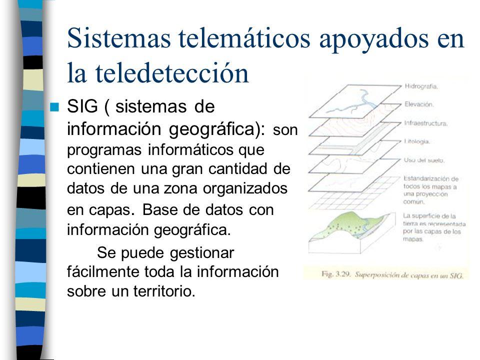 Sistemas telemáticos apoyados en la teledetección SIG ( sistemas de información geográfica): son programas informáticos que contienen una gran cantida