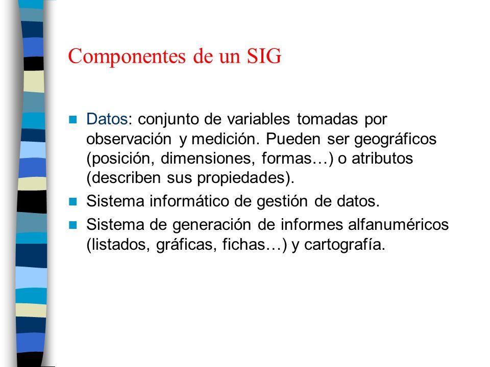 Componentes de un SIG Datos: conjunto de variables tomadas por observación y medición. Pueden ser geográficos (posición, dimensiones, formas…) o atrib