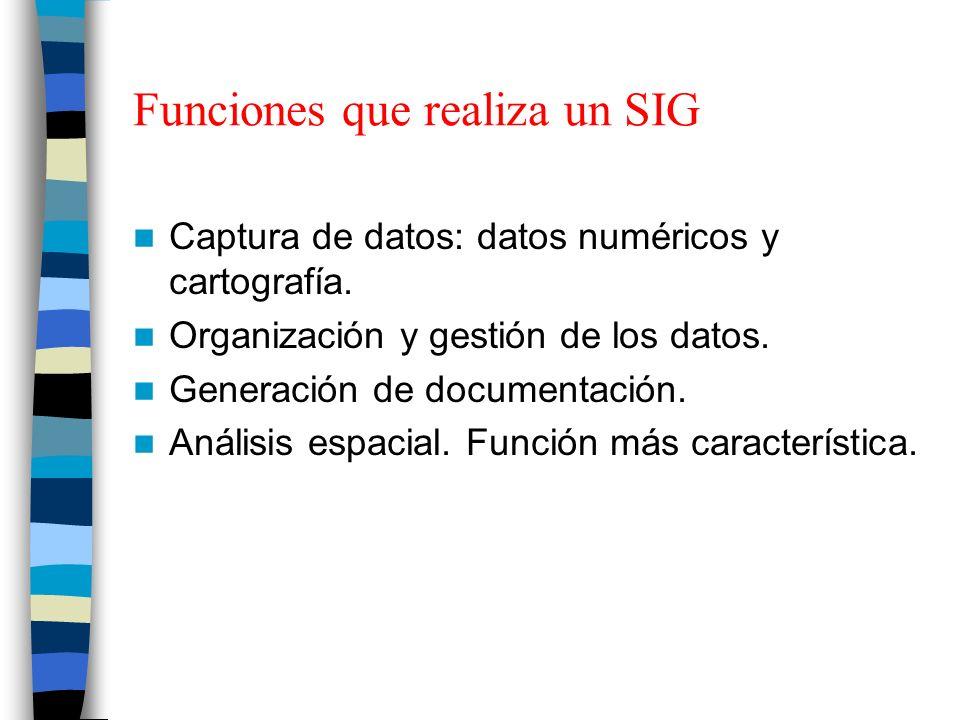 Funciones que realiza un SIG Captura de datos: datos numéricos y cartografía. Organización y gestión de los datos. Generación de documentación. Anális