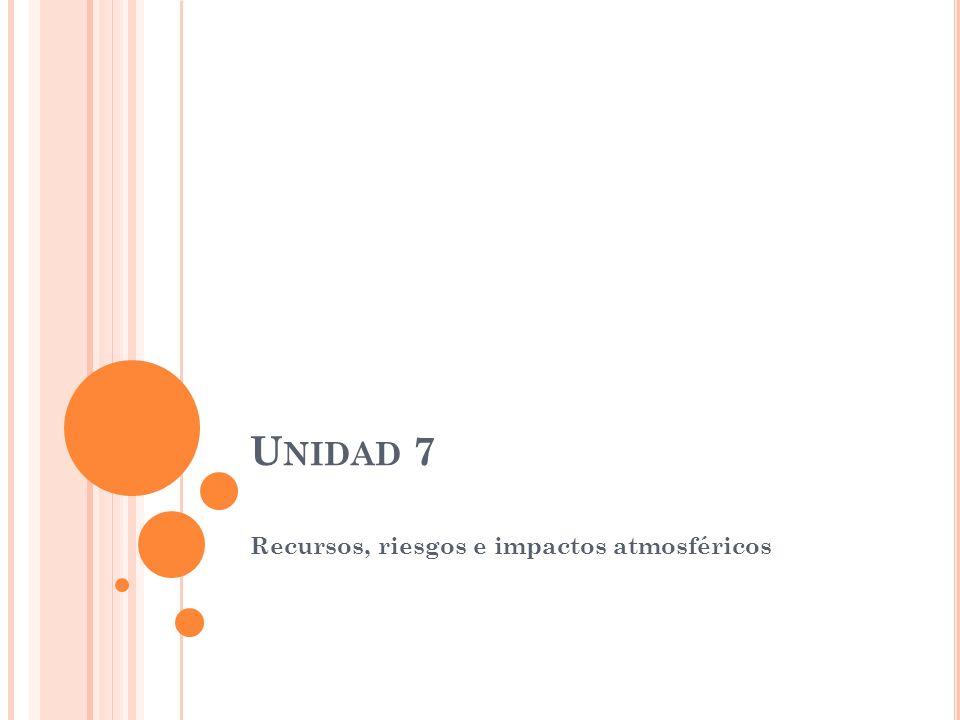 U NIDAD 7 Recursos, riesgos e impactos atmosféricos