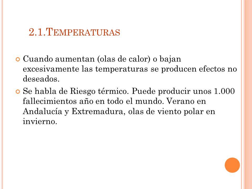 2.1.T EMPERATURAS Cuando aumentan (olas de calor) o bajan excesivamente las temperaturas se producen efectos no deseados.