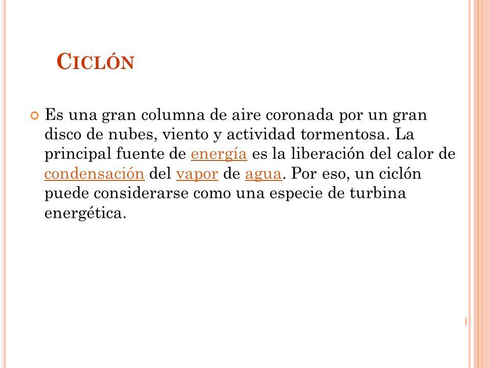 C ICLÓN Es una gran columna de aire coronada por un gran disco de nubes, viento y actividad tormentosa.